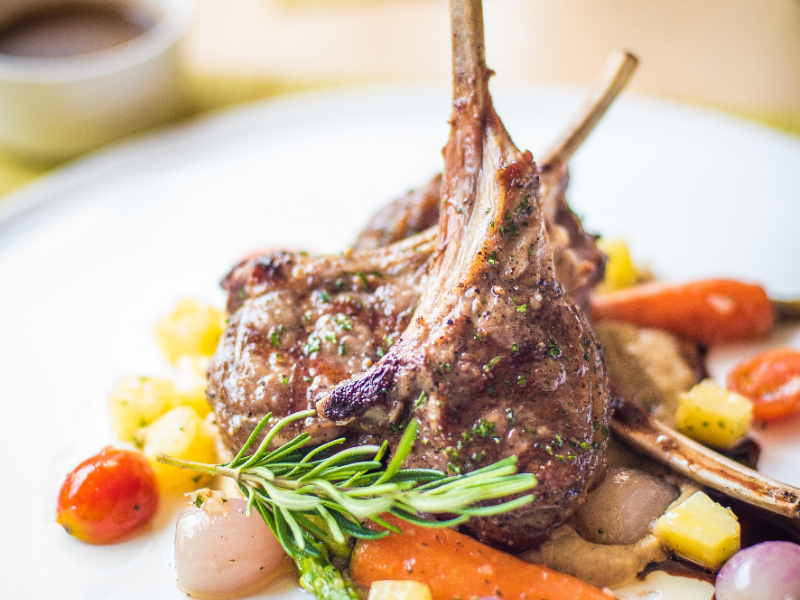 Restaurant Lamb Chops with Vegetables