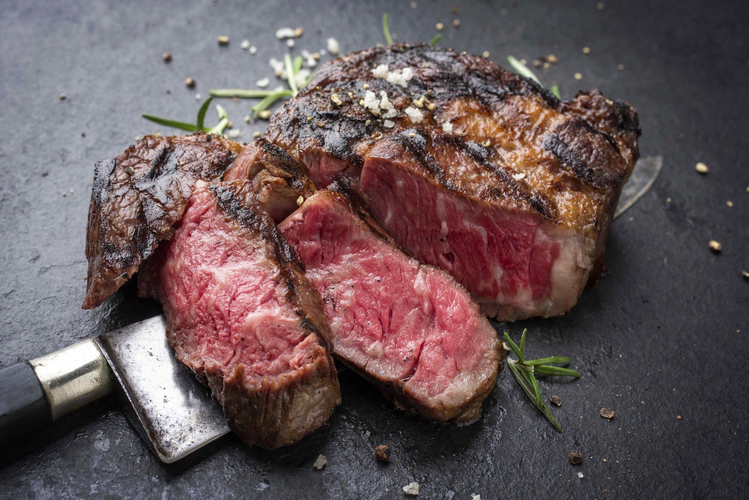 Barbecue aged wagyu rib-eye steak