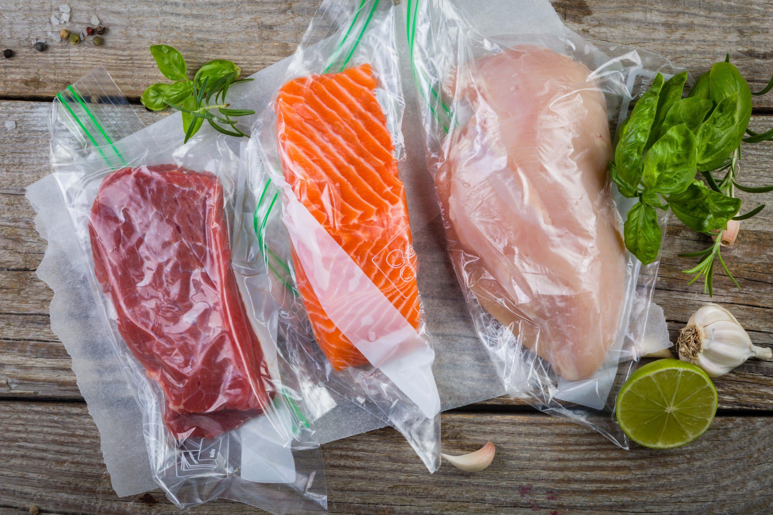 Beef, chicken, salmon vacuum plastic bag sous-vide